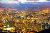 foto of shan  - Hong Kong Skyline Kowloon from Fei Ngo Shan hill sunset - JPG