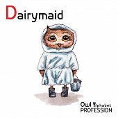 picture of milkmaid  - Alphabet professions Owl Dairymaid character on a white background Vector Watercolor - JPG