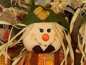 picture of scarecrow  - Autumn abundance halloween decoration cute happy scarecrow - JPG