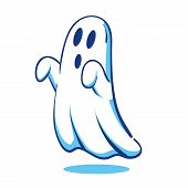 stock photo of funny ghost  - vector illustration of a spooky looking ghost - JPG