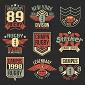 foto of letter t  - College rugby team emblems in retro vintage style - JPG
