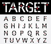 picture of verbs  - original vector font with target and red square - JPG