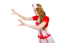 stock photo of witch-doctor  - Woman doctor covered in blood in halloween concept - JPG