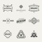 Retro Vintage Insignias or Logotypes set. Vector design poster