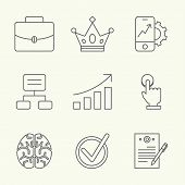 stock photo of goal setting  - Modern line icons of developing startup strategy - JPG