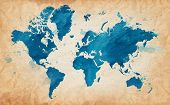 image of arts crafts  - Vector Illustrated map of the world with a textured background and watercolor spots - JPG