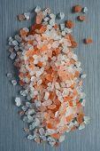 image of crystal salt  - Himalayan Crystal Rock Salt on brushed metal background - JPG