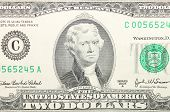 foto of two dollar bill  - Close up of american two dollar bill - JPG