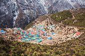 pic of sherpa  - Namche Bazaar aerial view Everest trek Himalaya Nepal - JPG