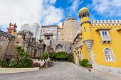 picture of palace  - The Pena National Palace is a Romanticist palace in Sao Pedro de Penaferrim Sintra Portugal - JPG