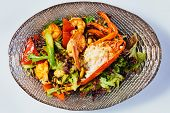 image of lobster  - Lobster salad in japanese style with chuka seaweed and tobico - JPG
