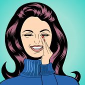 image of laugh  - pop art cute retro woman in comics style laughing vector illustration - JPG