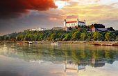 image of castle  - Bratislava castle at dramatic sunset in Slovakia - JPG