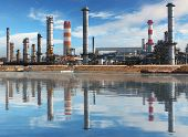 pic of reflection  - Petrochemical plant with reflection in water Oil Industry - JPG