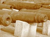 stock photo of qin dynasty  - Ancient cannon in Hulishan Fort Qin Dynasty - JPG