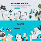 stock photo of web template  - Set of flat design illustration concepts for business - JPG