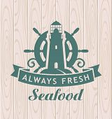 stock photo of meals wheels  - banner for seafood with a lighthouse and a steering wheel - JPG