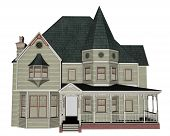 image of victorian houses  - Victorian house isoalted in white background  - JPG