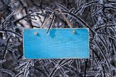 picture of sleet  - Blank ice teal blue wooden sign hanging on ice covered tree branches after ice storm
