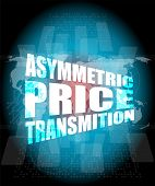 picture of asymmetric  - business concept asymmetric price transmition digital touch screen interface - JPG