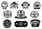 foto of barber razor  - Creative black and white barber shop labels on white background for hygiene and service design - JPG
