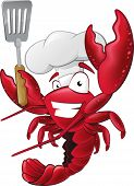 stock photo of crustacean  - Great illustration of a happy lobster Chef holding a Spatula ready to cook some delicious seafood - JPG