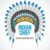 pic of indian chief  - Indian chief hat with plumage - JPG