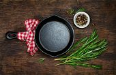 image of ingredient  - Ingredients for cooking and empty cast iron skillet - JPG