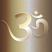 picture of om  - Vector abstract gold background with  OM mantra - JPG