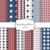image of diagonal lines  - Set of stars and stripes pattern seamless patterns - JPG