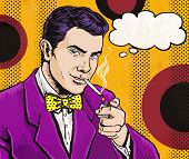 stock photo of hustler  - Vintage Pop Art Man with cigarette  and with speech bubble - JPG