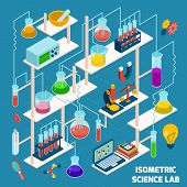 stock photo of chemistry  - Isometric science lab research process with chemistry and physics 3d icons vector illustration - JPG