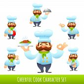 pic of cartoon character  - Male cook in uniform restaurant professional cartoon characters set isolated vector illustration - JPG