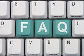 picture of faq  - Getting the FAQs online A gray computer keyboard with the word FAQ in teal letters - JPG