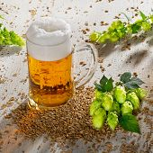 picture of raw materials  - beer glass and raw material for beer production - JPG