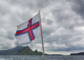 picture of faroe islands  - Red white and blue flag of Faroe islands - JPG