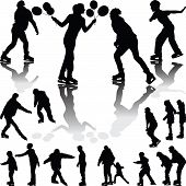 image of skate  - collection of ice skating people silhouette vector - JPG