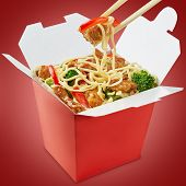 pic of chinese wok  - Wok noodles box with chopsticks isolated on white background - JPG