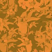 picture of por  - Beautiful por art vintage style floral collage lilies pattern motif background in orange and olive colors - JPG