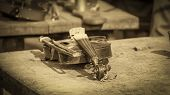 stock photo of violin  - Traditional old gipsy violin on a vintage style photo - JPG