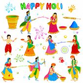 stock photo of radha  - vector illustration of Radha Krishna playing Holi - JPG