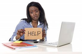 foto of secretary  - black African American ethnicity tired and frustrated woman working as secretary in stress at work office desk with computer laptop asking for help in business frustration concept - JPG