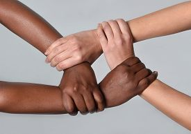 stock photo of diversity  - white Caucasian female hands and black African American holding together in world unity and racial love and understanding in tolerance and races diversity cooperation concept - JPG
