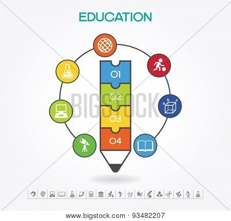 Creative infographics Template with pencil, puzzle and education ...