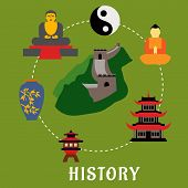 picture of buddhist  - Chinese historical landmarks and religion icons in flat style showing top view of Great Wall of China encircled by symbol of harmony yin yang - JPG