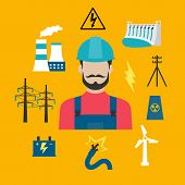 Постер, плакат: Electricity industry concept with power icons