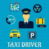 stock photo of steers  - Taxi driver profession flat concept with elegant man in uniform surrounded by taxi service icons such as yellow car - JPG