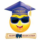 stock photo of emoticons  - Graduation smiley  - JPG