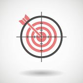 picture of crosshair  - Illustration of a crosshair icon targeting a dartboard - JPG