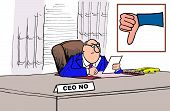 stock photo of nameplates  - Business cartoon of business leader at his desk and a nameplate that reads  - JPG